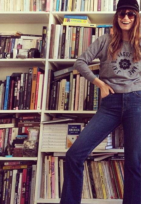 Caroline de Maigret - High waisted denim -  Alexa Chung AG Jeans