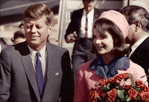 JFK and Jackie in Dallas. Jackie in Chanel