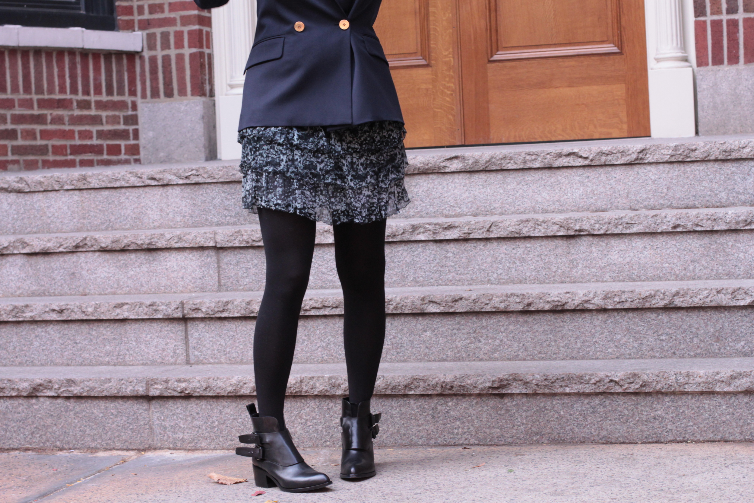 Navy Blazer with Wang Booties and Frilly Dress