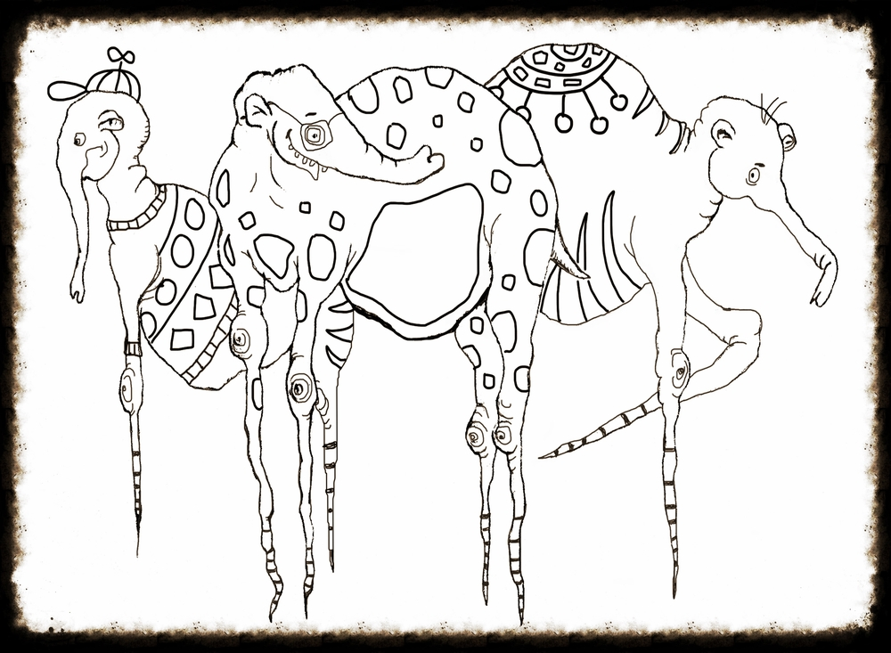 A single page from the book - original elephants on Dali-esque legs with extra detail added in just for the coloring book.