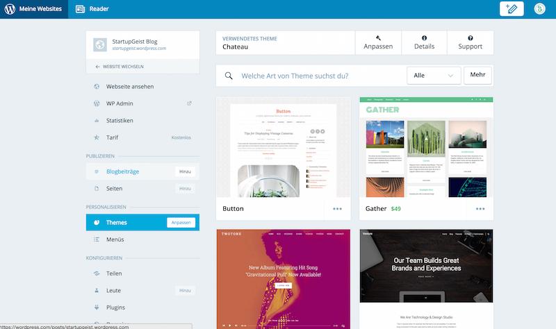 "Wordpress Themes — ""Anpassen"""