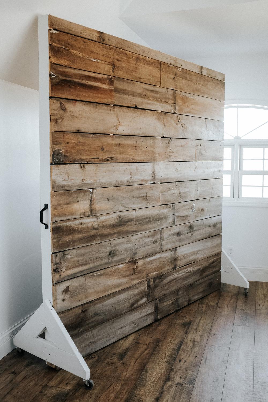 Barn wood wall on wheels
