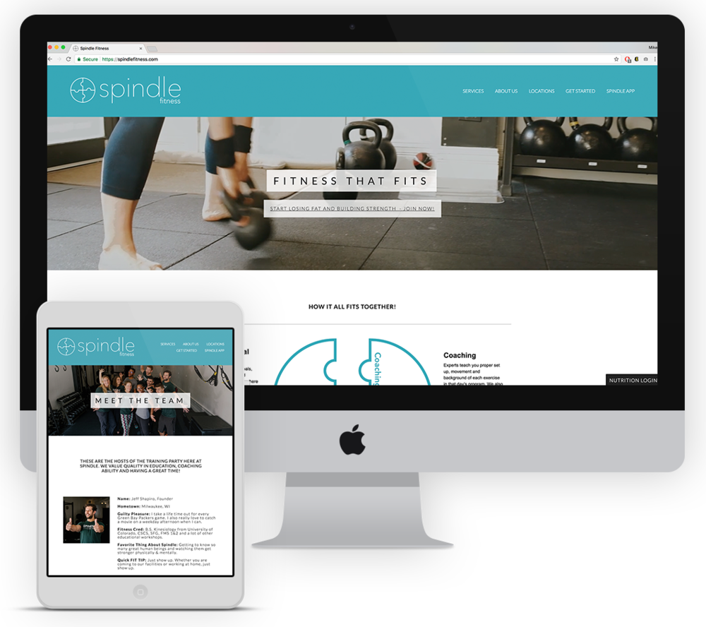 Website. - Jeff wanted his website to showcase their technique-based approach to fitness along with the joy and warmth of Spindle's personal trainers. He wanted a softer brand that communicated their interest in helping their clients achieve their goals.