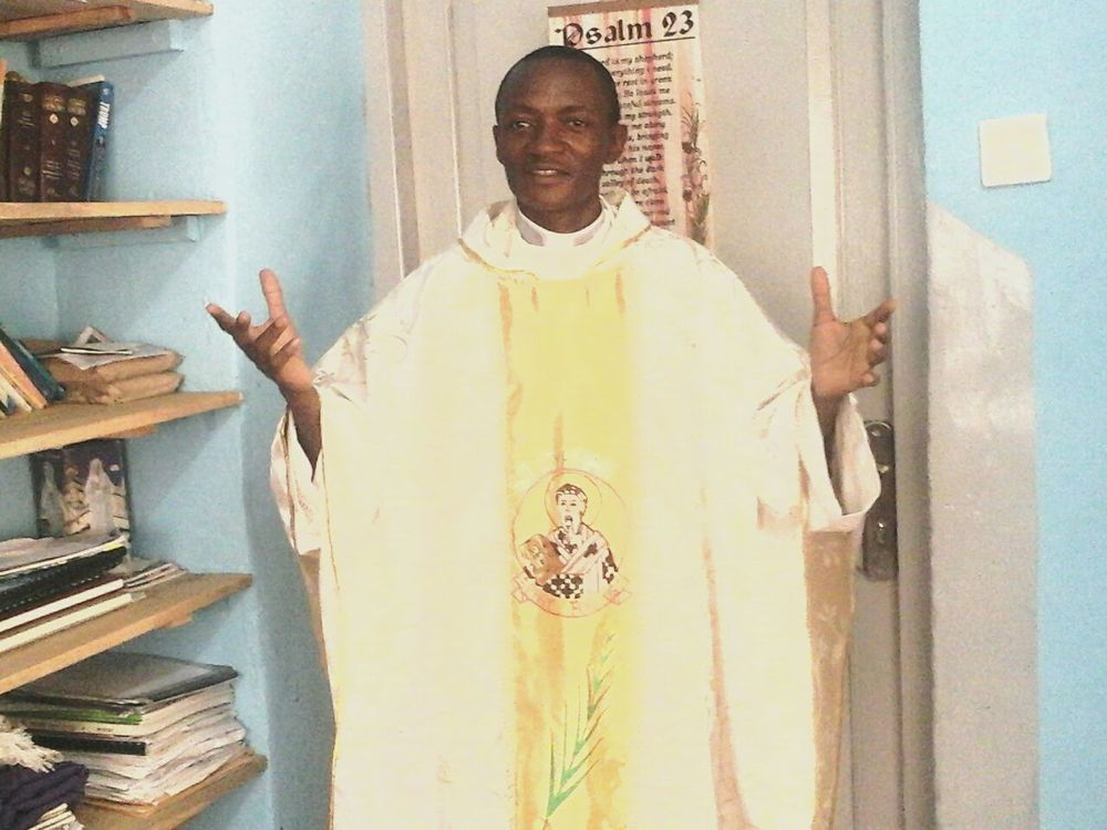 Fr. John in his Easter vestments just before he went to celebrate the Easter Vigil.