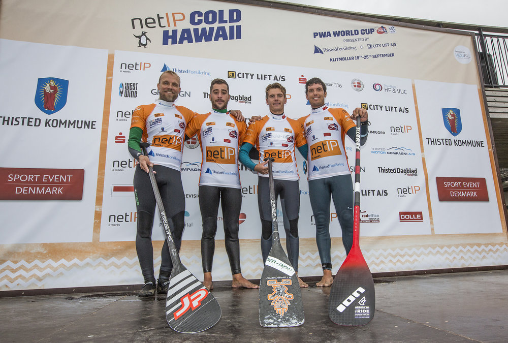 Pablo RAMIREZ (E-244), Moritz MAUCH (G-103), Lars Petersen (D-99), Victor Fernandez (E-42) on stage after finishing the netIP Cold Hawaii SUP competition, day 3 at the netIP Cold Hawaii PWA World Cup 2016.