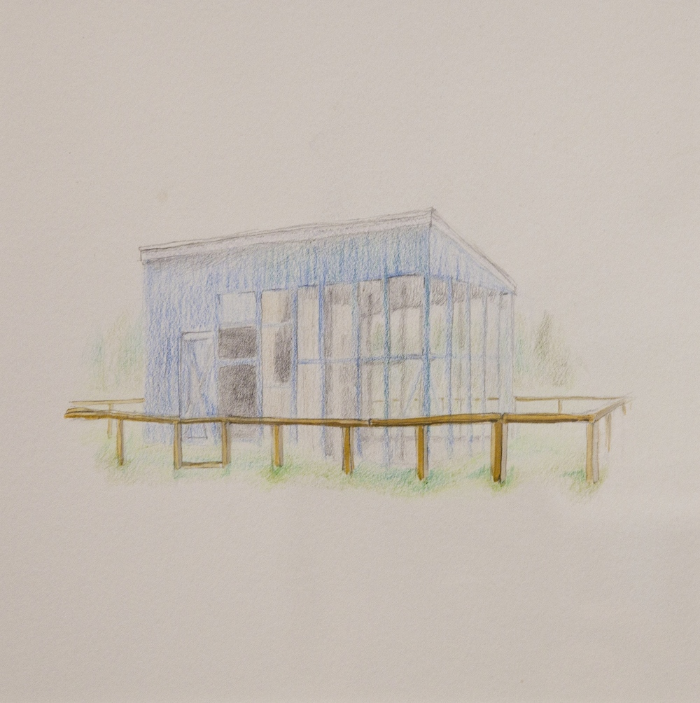 "Enclosure,  9"" x 9"", colored pencil and gouache on paper, 2010"