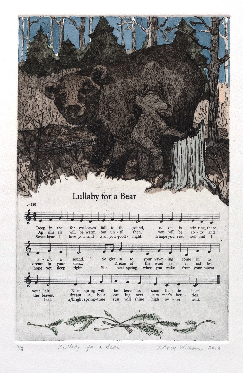 "Lullaby for a Bear,  etching, watercolor, and silkscreen on paper, plate dimensions: 6"" x  9"",  2013"