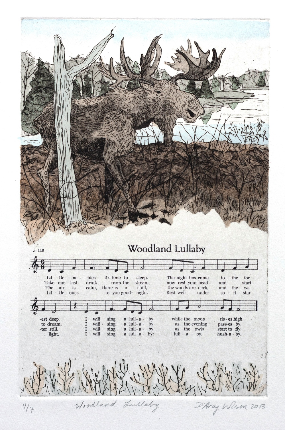 "Woodland Lullaby,  etching, watercolor, and silkscreen on paper, plate dimensions: 6"" x  9"",  2013"