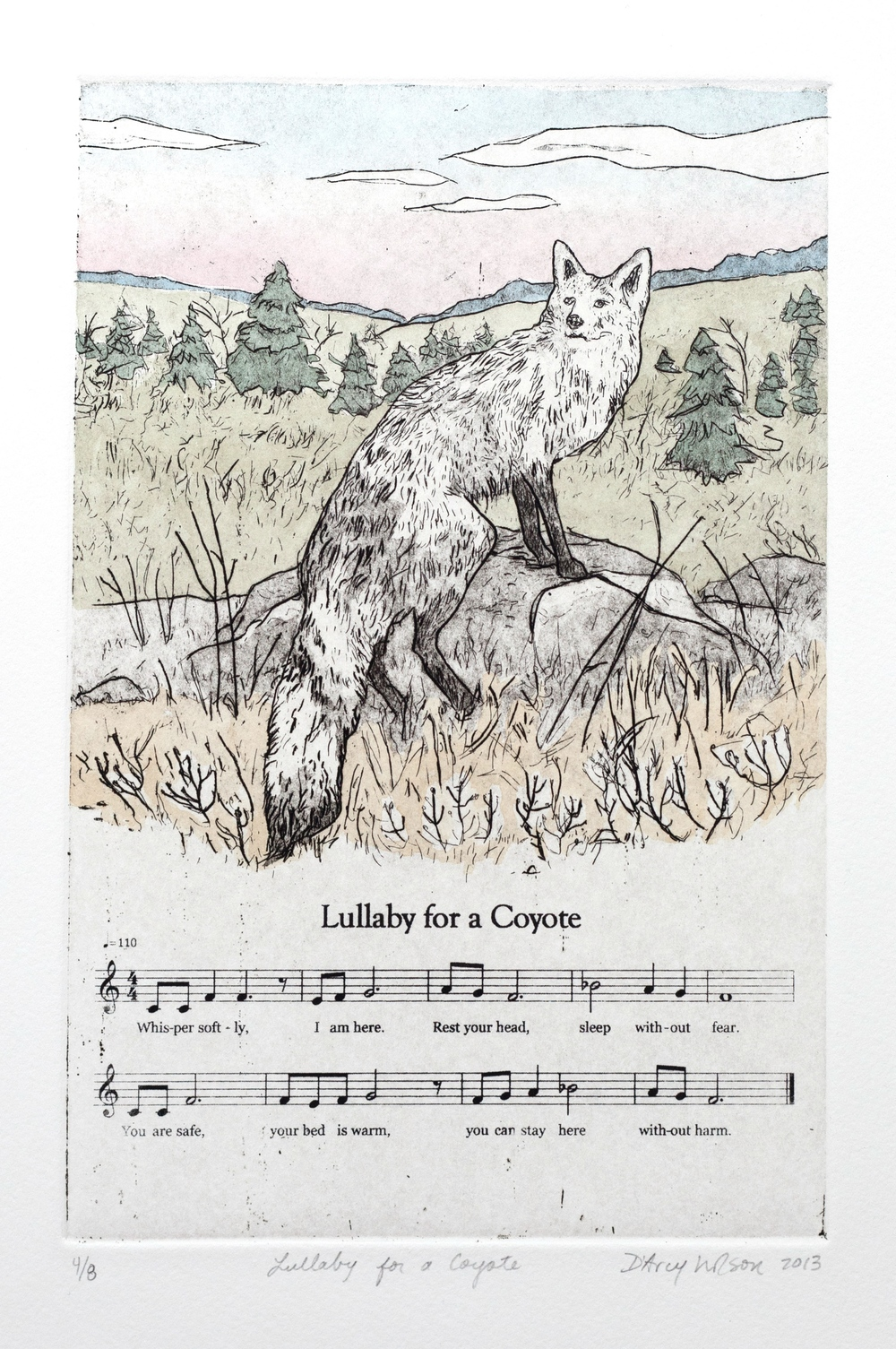 "Lullaby for a Coyote,  etching, watercolor, and silkscreen on paper, plate dimensions: 6"" x  9"",  2013"