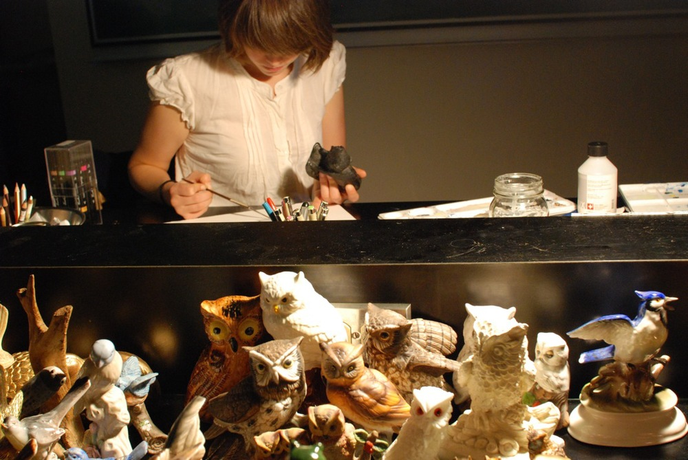 Keepers , performance with Canadian wildlife figurines, Mount Allison University Biology Lab, part of Struts Gallery and Owens Art Gallery's Annual Symposium of Art, Sackville, NB, 2009.