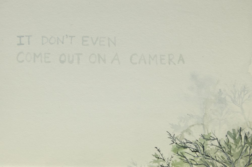 "No Deliverance, Postcard (It Don't Even Come Out on a Camera)    , gouache on watercolor board (also printed into postcards)  , 4"" x 6"" , 2015"