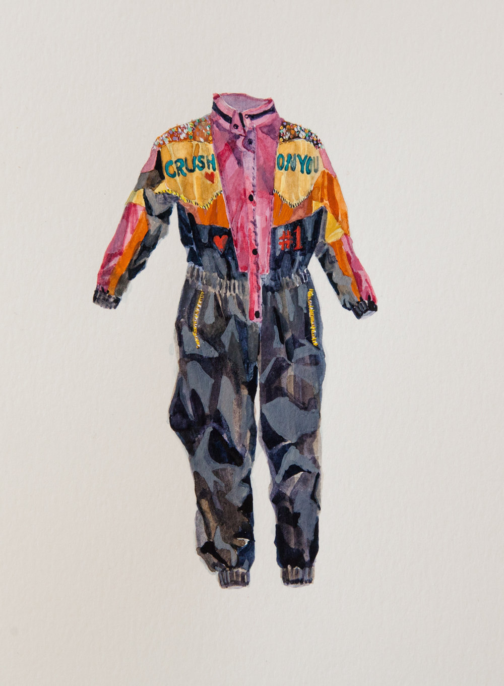 "#1 Fan (Snowsuit Study),   gouache on paper, 9"" x 12"", 2016"