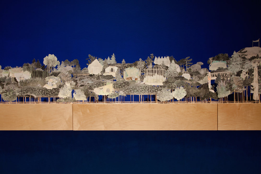 Diorama of the Gardens; a reconstruction of Downs' Zoological Gardens,   detail,     hand-coloured and cut etchings, coloured pencil drawings, and birch base. 14 feet long, 2016. Installed at the Owens Art Gallery, Sackville, NB