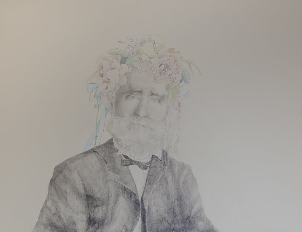 "Portrait of Andrew Downs, world-renowned naturalist and proprietor of Downs' Zoological Gardens (1811— 1892) , pencil and gouache on paper, 22"" x 33"", 2016"
