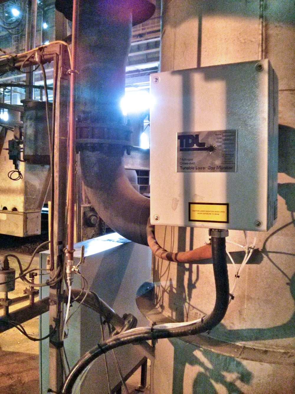 The TDL multi-gas Cross-duct laser monitoring system installed at a steel plant monitoring a secondary steel manufacturing process