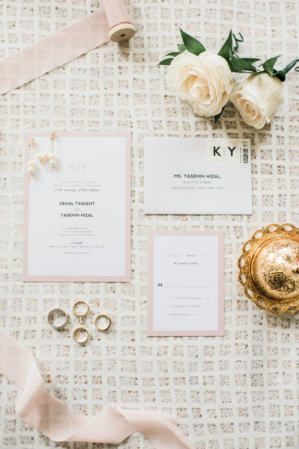 Wedding Invitation, Rose Gold Wedding Invitation, Wedding Invitation Styling, Wedding day details, Bride and groom rings, boutonniere,