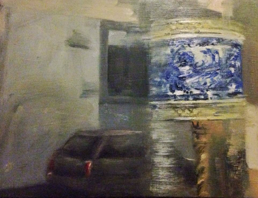 Lane way in Florence, Italy, with reflection of lamp in window. Oil on wood. 20.2.16