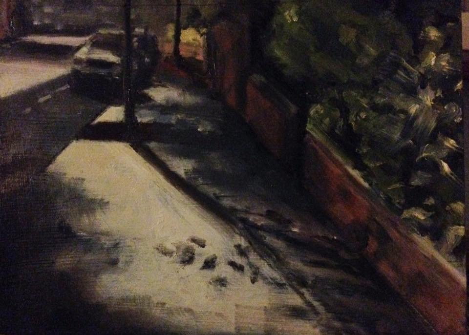 Morning car. Willesden Green. 6.9.16. Oil on wood