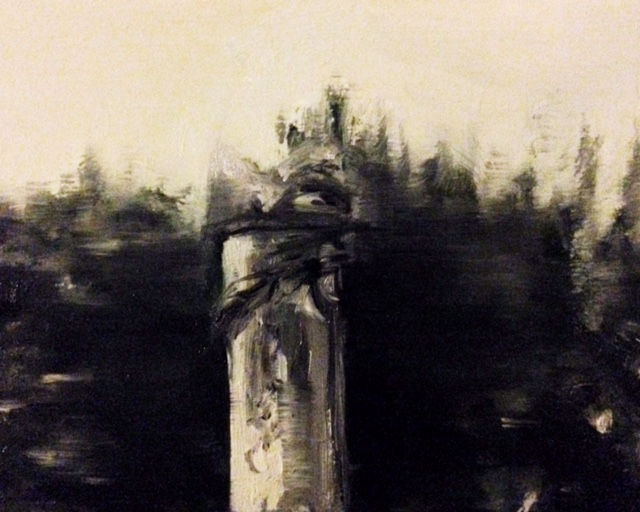 Paddington Old Cemetery. Kilburn. Oil on wood. 12.9.16
