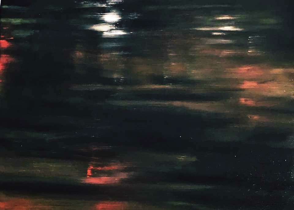 Hackney Wick canal at night. oil on wood. 1.7.17