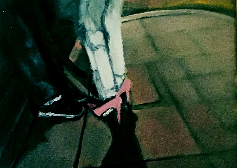 Smoking outside the Goodship in Kilburn. Oil on wood. 20.6.17