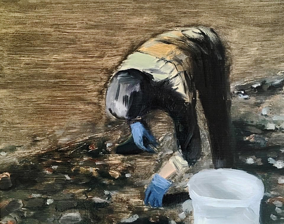 Thames Mudlark. 18.8.17. Oil on linen