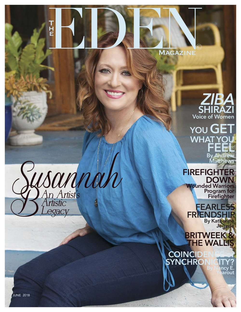 Susannah B on the cover of the June 2018 edition of The Eden Magazine