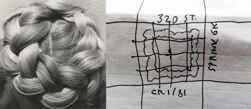 Left: Dorothea Lange, Untitled, 1951; Right: Arthur Pail David White, A Magic Square within a Magic Square, ink on paper placemat, 2016