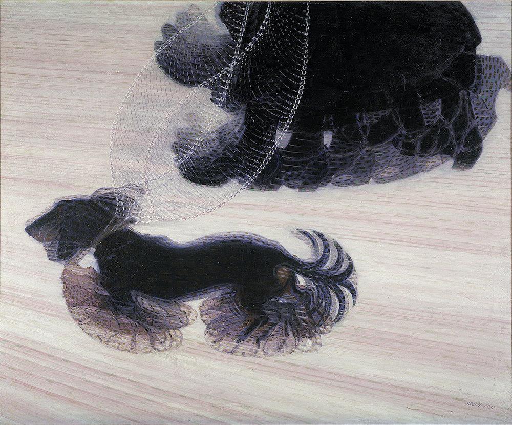 Giacomo Balla, Dinamismo di un cane al guinzaglio (Dynamism of a Dog on a Leash), oil on canvas, 1912