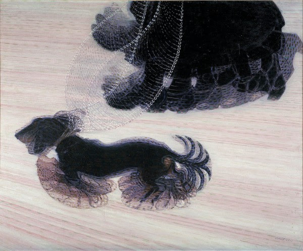 Giacomo Balla,  Dinamismo di un cane al guinzaglio (Dynamism of a Dog on a Leash),  oil on canvas, 1912