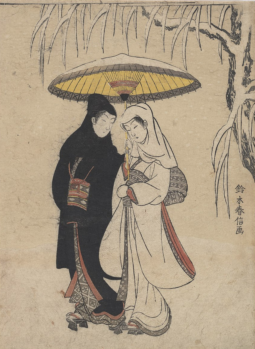 Suzuki Harunobu, Lovers Walking in the Snow (Crow and Heron), 1764–72