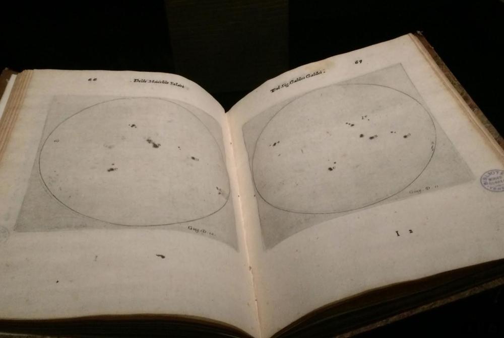 Galileo Galilei,Istoria e dimostrazioni intorno alle macchie solari e loro accidenti, 1613, Printed book with engravings, Biblioteca del Museo Corner, Venezia