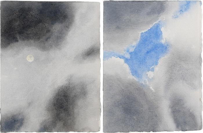 Geoffrey Hendricks,  Clouds Moving Across Full Moon/Break in the Clouds , Cape Breton Island (Diptych), 2015