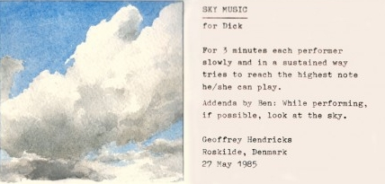 Geoffrey Hendricks,  Sky Music  Event Score, 1985