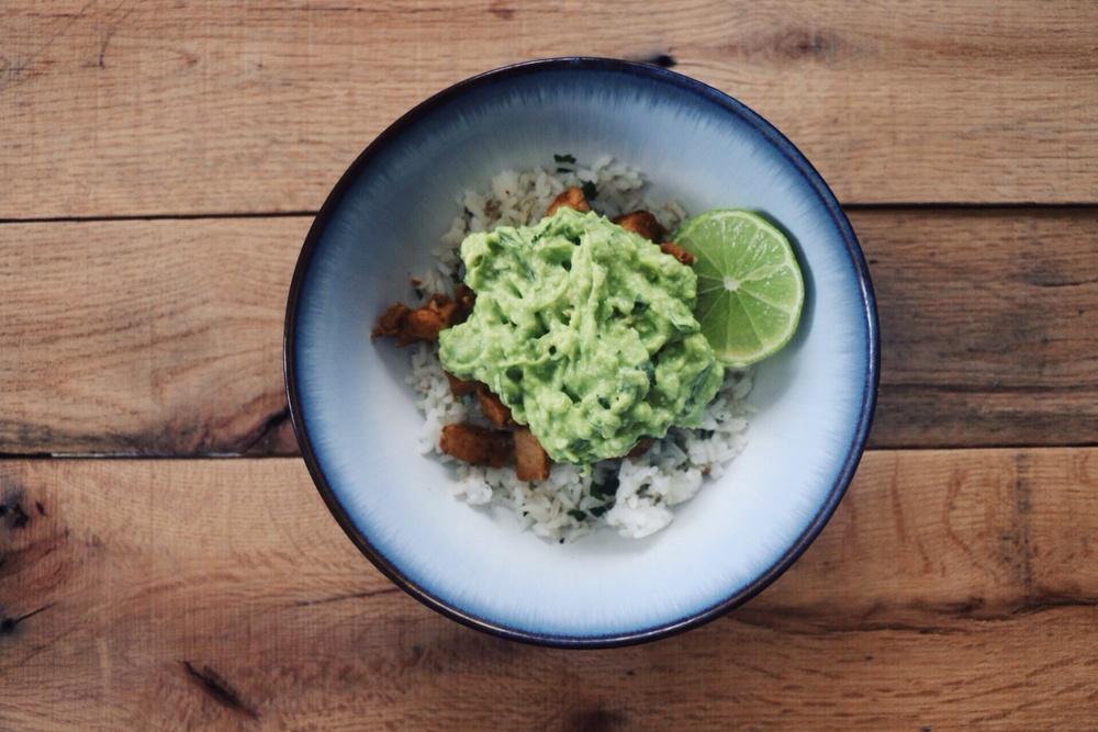 Cilantro lime rice, fajita chicken, guacamole