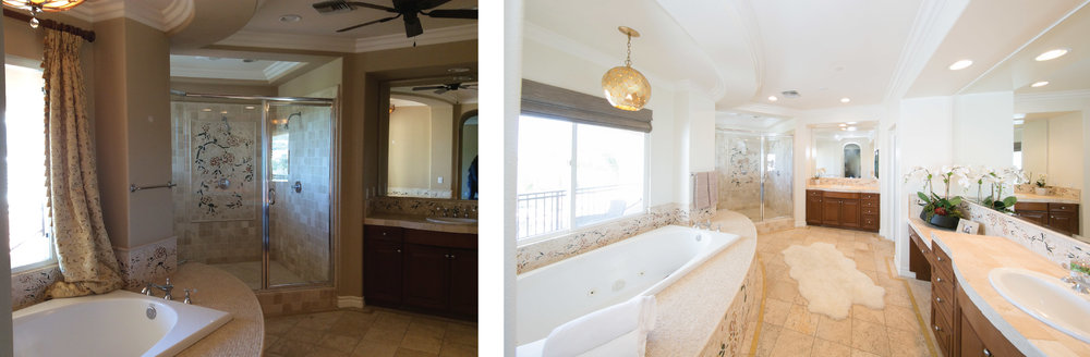 There was not much we could do to this bathroom without a major renovation. However, fresh paint and a new Arteriors pendant above the bathtub still managed to uplift the space.