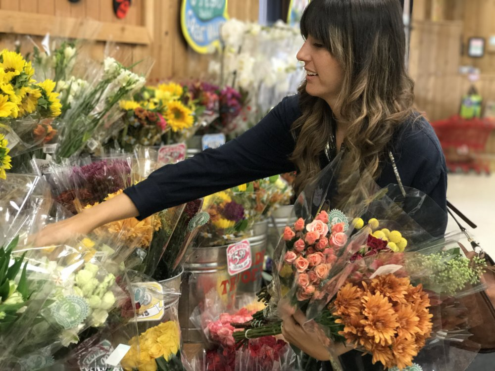 Selecting flowers at Trader's
