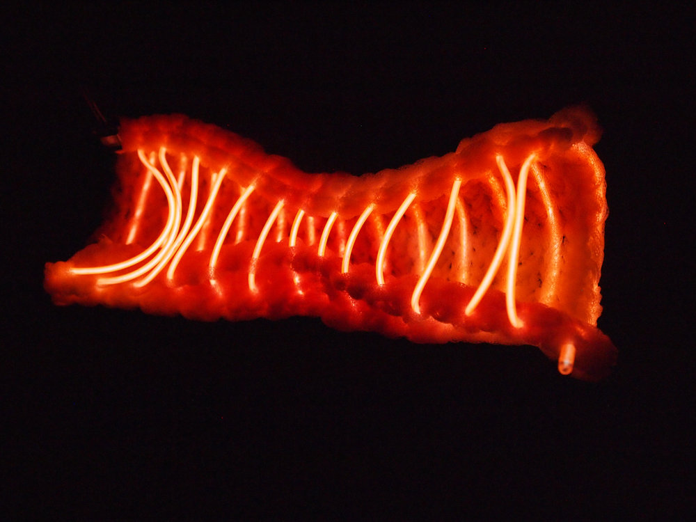 Machine and Hand Knit  Monofilament (hand dyed), LED Wire