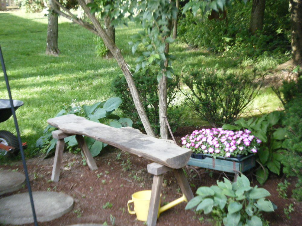 A simple  log bench can motivate a theme.