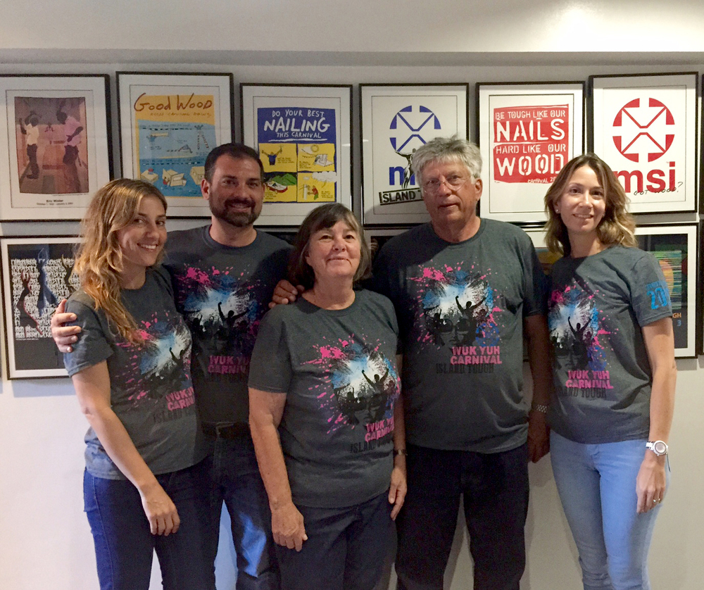 MSI has been making Carnival t-shirts since the 70's!  The Brunt family: Tom, Kris, Tommy, Tina & Pia. Not shown: Shane Brunt.