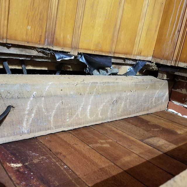 This is a beam on a house we are renovating. What do you think it says? #carpentry #beam #craftmanship #salisburymd #stmichaels #eastonmd #renovation #farmhouse #design #rustic #demolition