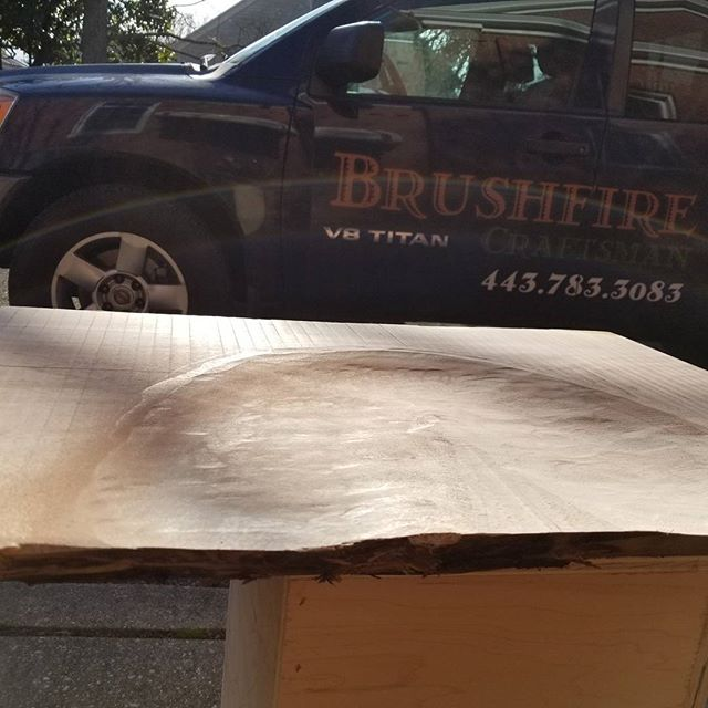 This will be the most comfortable seat in the world... for me. For all those ladies out there, that's my butt in reverse. Dead sexy.  #brushfirecraftsman #craftmanship #carpentry #storage #arbortech #blackwalnut #walnut #keepcraftalive #salisburymd #stmichaels #eastonmd #handcrafted #reclaimedwood #salvagedwood