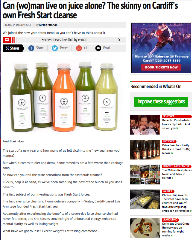 Review of fresh start 3 day cleanse by Wales online   http://www.walesonline.co.uk/whats-on/food-drink-news/fresh-start-juice-8447788