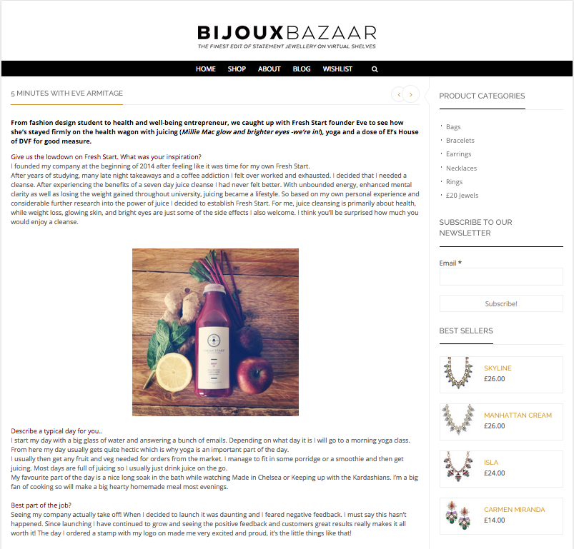Interview with founder of Fresh Start Eve Armitage  bijouxbazaar.co.uk/uncategorized/5-minutes-eve-armitage/