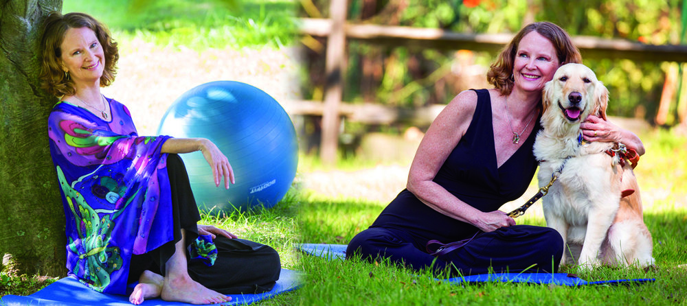 Picture of Mel Scott with Stability Ball and Mel Scott with Jingles her guide dog.