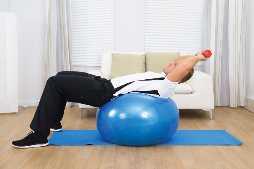 Man on stability ball