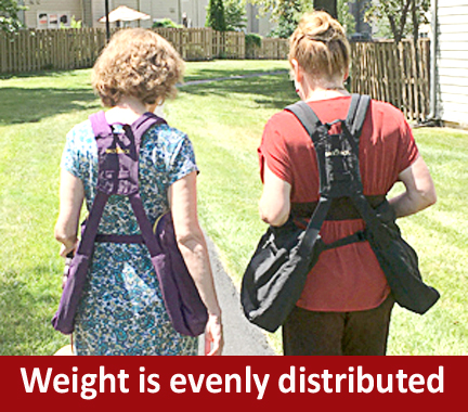 Mel and Peggy showing the BackTpack distributing weight evenly as they walk.