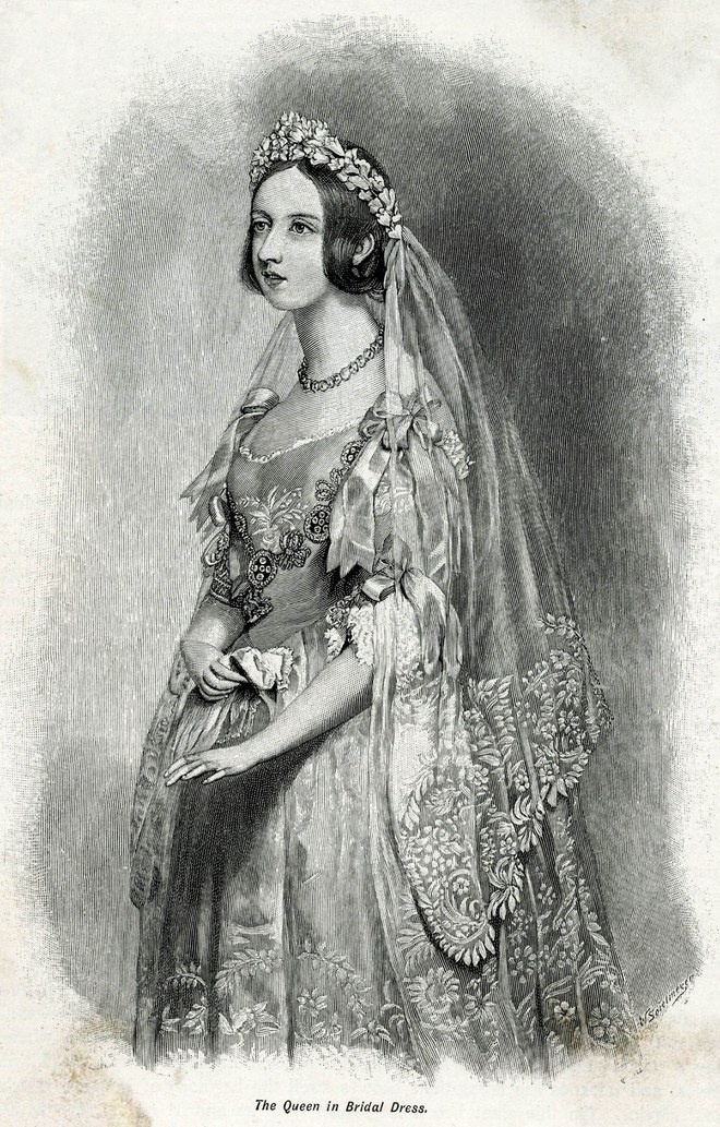Queen Victoria in her wedding dress, February 10th, 1840.Photo: Rex