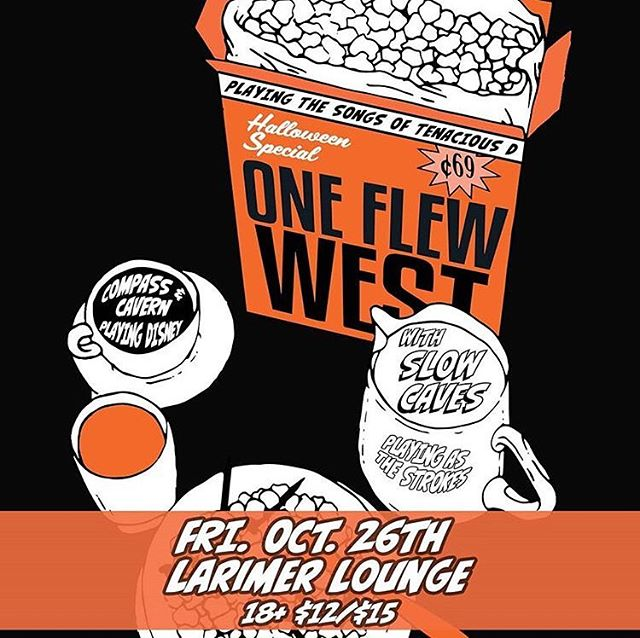 Alumni band @oneflewwestband is headlining the @larimerlounge October 26th with @slowcaves and @compasscavern!! 18+, show starts at 9pm!