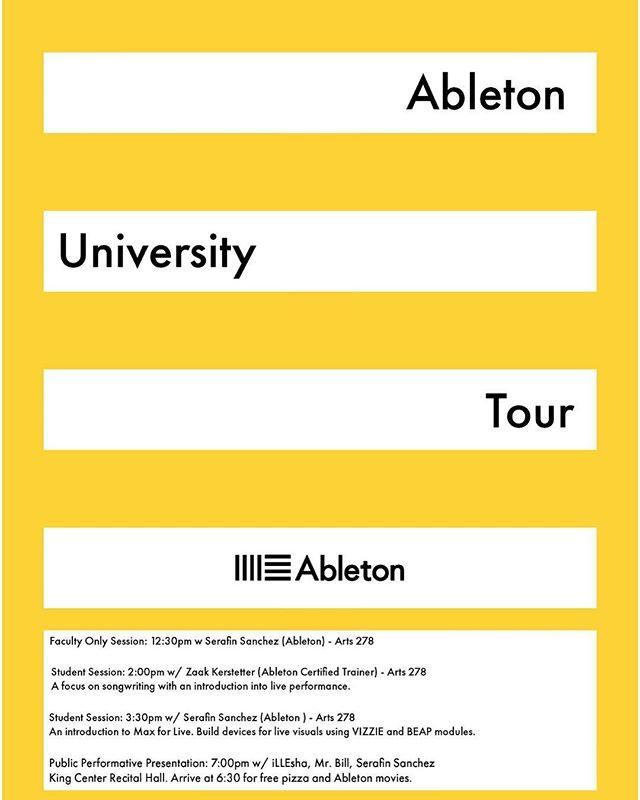 don't forget TODAY at 7pm in the King Center Recital Hall a public presentation about @ableton is happening! RSVP with the link in our bio!